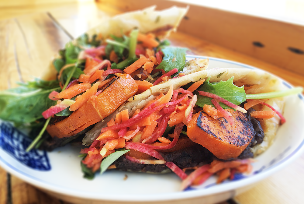 THE GABBY - maple roasted sweet potato, black bean spread, pickled slaw, greens / 10| vegan