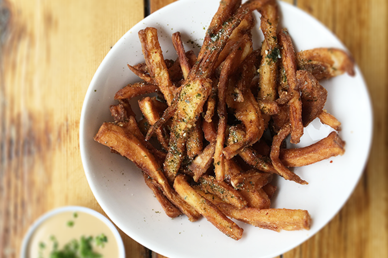 JAVELIN FRIES - parsnip fries, house spice, seaweed confetti, soy aioli / SM 4 / LG 6| vegetarian (vegan without sauce)