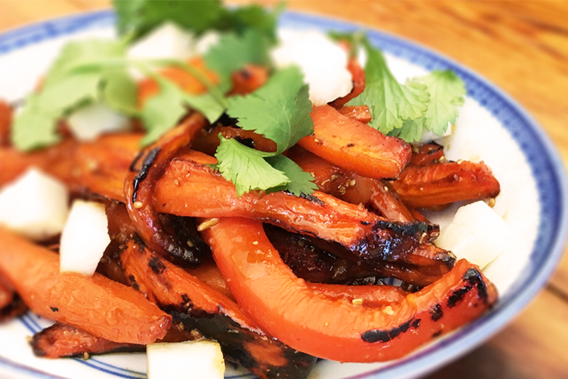 ROASTED HONEY CARROTS - fennel, coriander, butter, crunchy pickles, cilantro / 5| vegetarian | GF