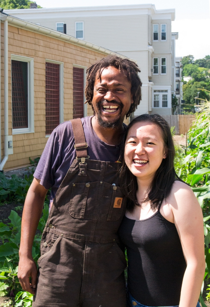 Bobby Walker of Urban Farming Institute (UFI) and Jennifer Chen - UFI volunteer & Mei Mei intern. photo credit:  @gracestills