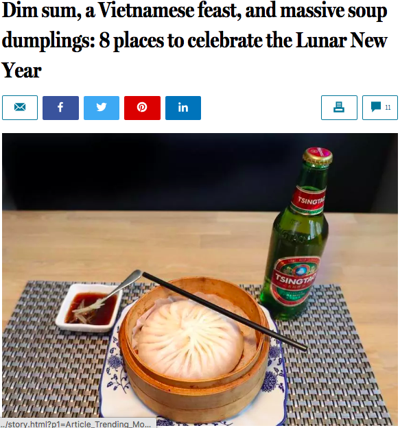 THE BOSTON GLOBE: 8 Places to Celebrate the Lunar New Year  January 2019