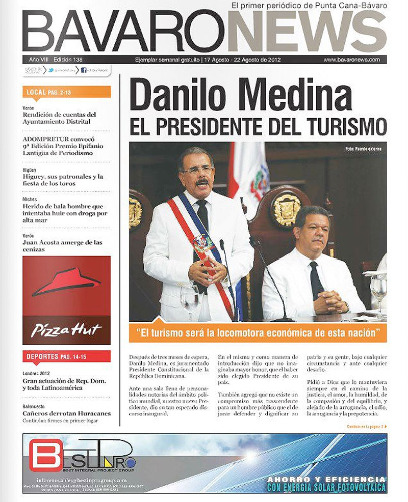 Agosto 2012 – Bavaro News / Banner publicitario BESTINPRO en BavaroNews
