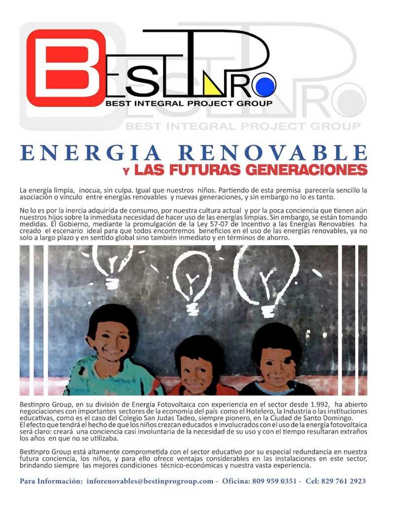 Agosto 2012 -  Colegio San Judas Tadeo Press  / Articulo de BESTINPRO 'Energia Renovable y las futuras Generaciones' publicado en la revista del colegio San Judas Tadeo