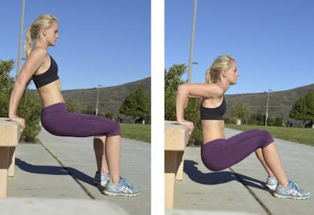 Tricep Dips - as you get stronger, challenge yourself by moving your feet further out until your legs are fully extended & you are on your heels, rather than flat-footed.