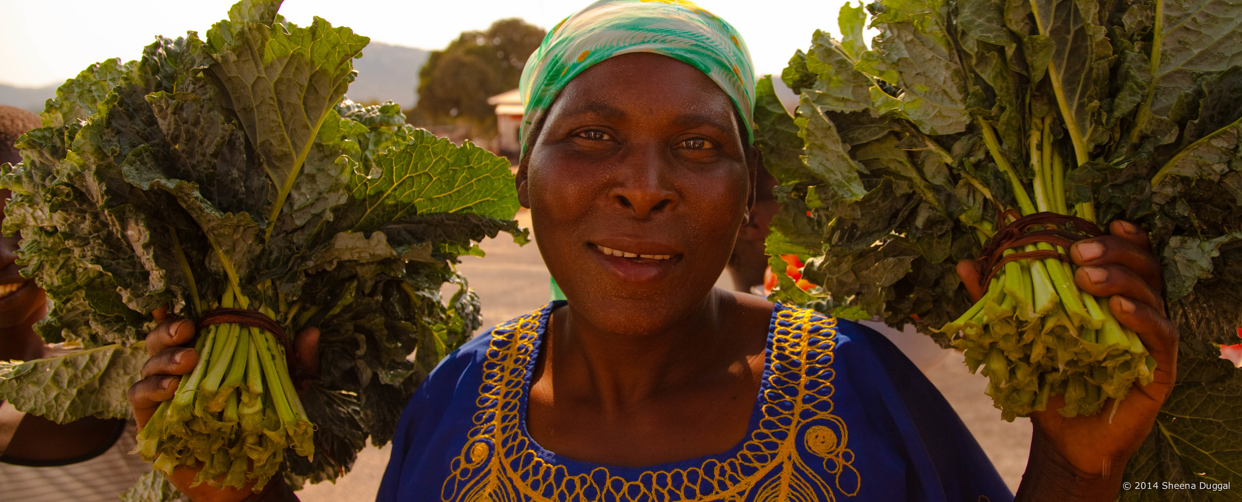 Lady selling kale she has grown, Zimbabwe