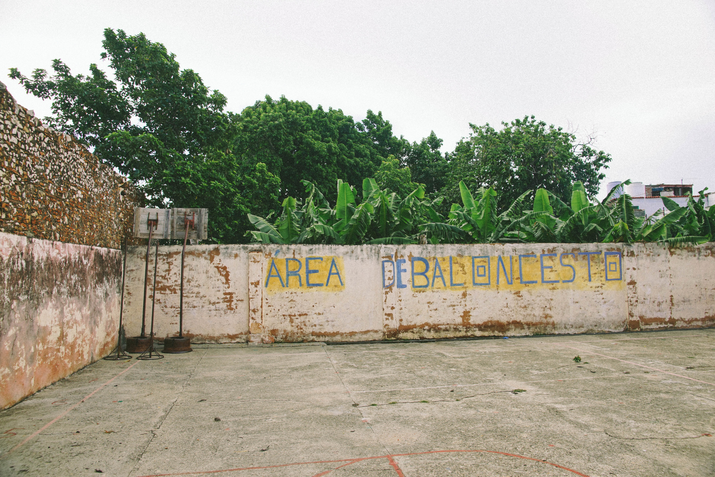 A primary school sports court in Trinidad. The facilities may be run down, but education is free in Cuba.