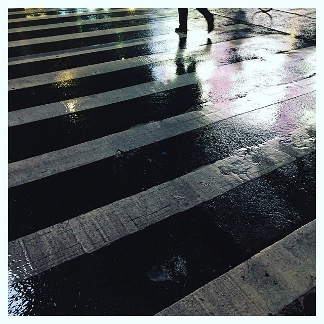 #streetscape #nightphotography #rain #puddle #whitepaint #wettarmac