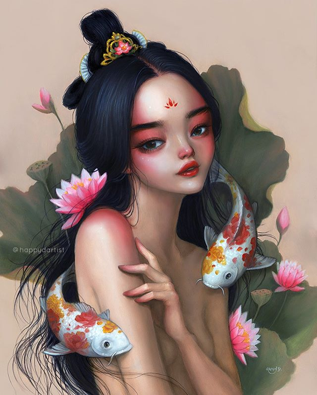 "(👉 for details) This piece is titled ""Belonging"" and it features a koi fish goddess among her spiritual kin 🎨 Some of my favorite additions to this painting are the little flower shaped markings on the koi fish 🌸🌹🌻 I was originally going to paint those flowers onto the woman's arms, but I realized I should give the animals a turn to get a little bedazzled! 😁🐠🐟 What do you guys think - should I continue to paint more tattooed animals? 😀 . ✨ Original is sold, but PRINTS ARE AVAILABLE (and 20% OFF!) 🔗 IN BIO ✨ . . . . . . #oilpainting #painting #portrait #varnish #oddlysatisfying #artistsoninstagram #artistsofinstagram #oil #oils #surreal #fantasy #watercolor #acrylic #coloredpencil #drawing #realism #semirealism #koi #waterlily #magical #waterlilies #chinese #redlipstick #blush #print #giclee #fineartprints"