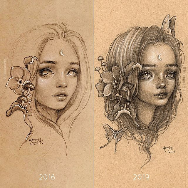 "Trying a #drawthisagain challenge for the first time! What an eye opening experience to redraw this piece from over 3 years ago... I realized my bar is way higher now for what qualifies as a ""finished"" artwork, but I also spend way longer to finish pieces (and therefore run out of time more often). Also, back then I would avoid drawing hair because I hated rendering hair, and now it's one of my favorite things to draw (it's so therapeutic! 😆) . 💝 ORIGINAL DRAWING + PRINTS AVAILABLE 💝 (20% OFF! 🔗 IN BIO) . . . . . . #drawing #charcoal #graphite #sketchbook #oilpainting #coloredpencil #painting #portrait #varnish #oddlysatisfying #artistsoninstagram #artistsofinstagram #oil #oils #surreal #fantasy #watercolor #acrylic #realism #semirealism #mushrooms #butterfly #moth #goddess"