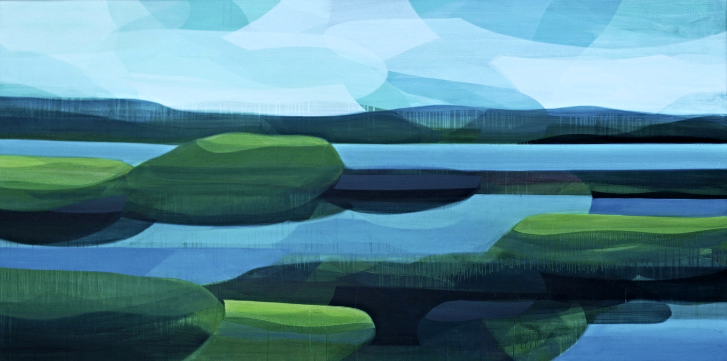 vernon river marsh, water-based media on panel, 4' x 8', 2014