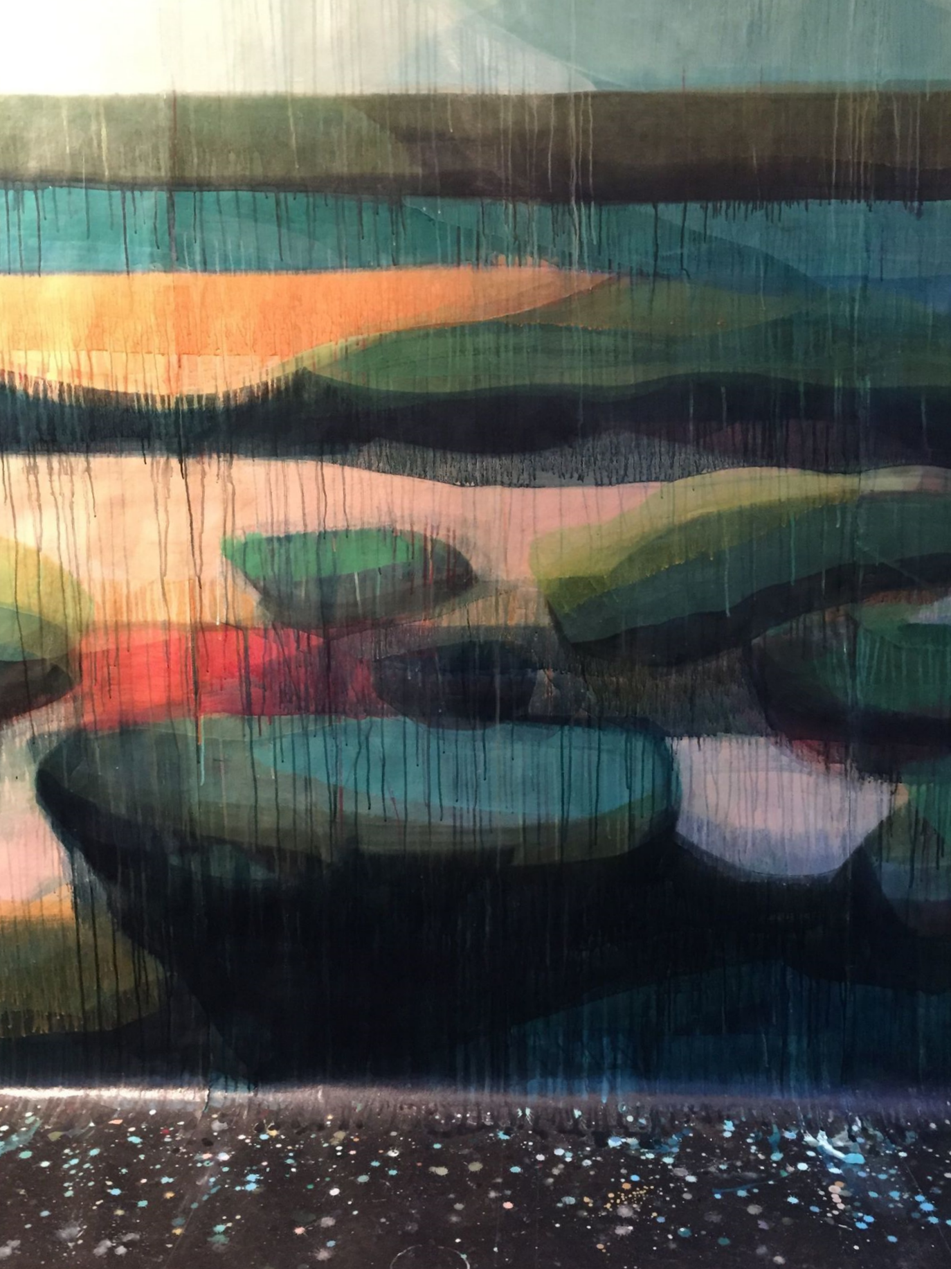 (detail) water's edge, 8' x 14', water-based media on panel, 2014-2015