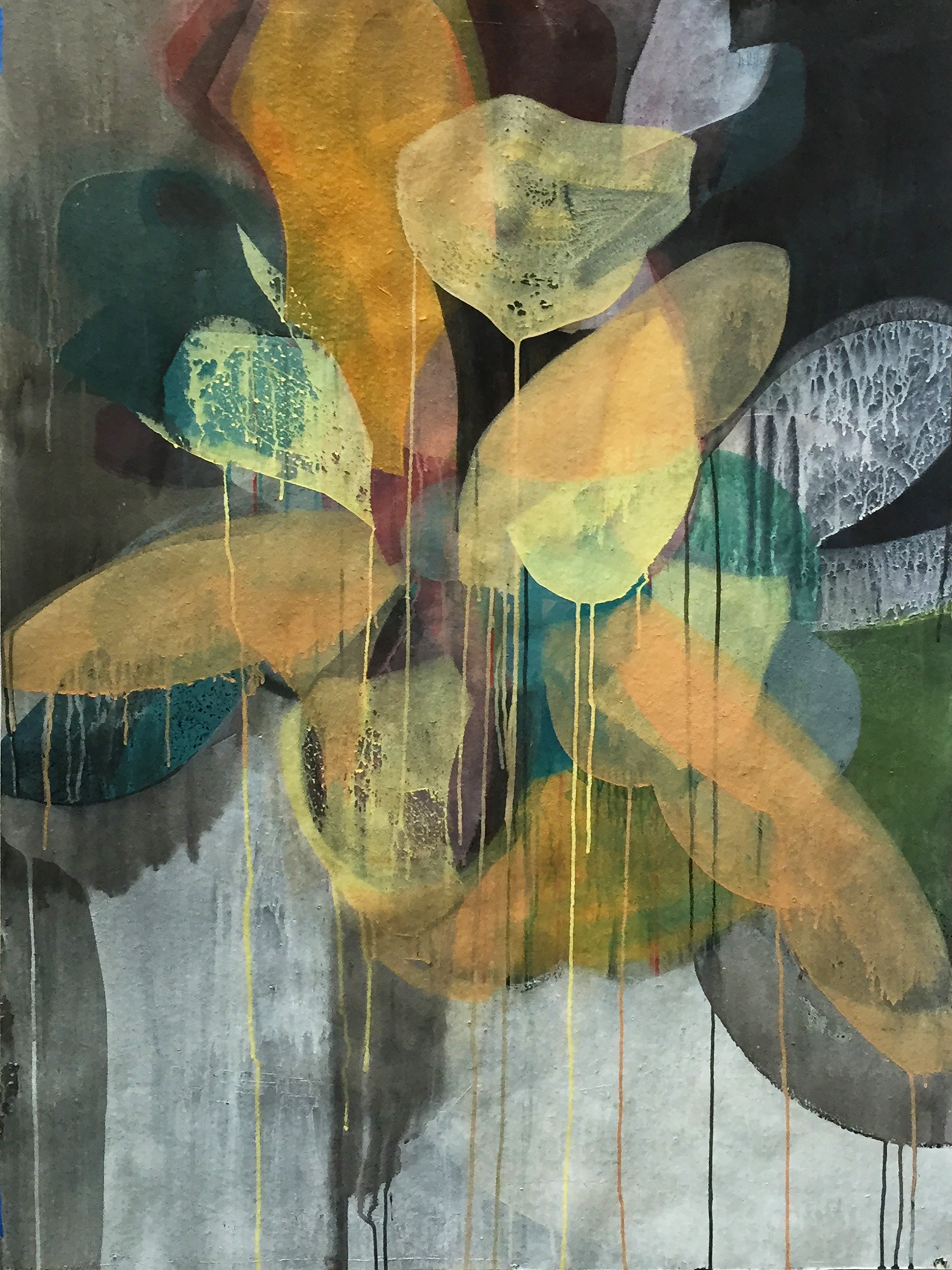 "(sufa15) casar peony, 49"" x 36"", water-based media on paper, 2015"