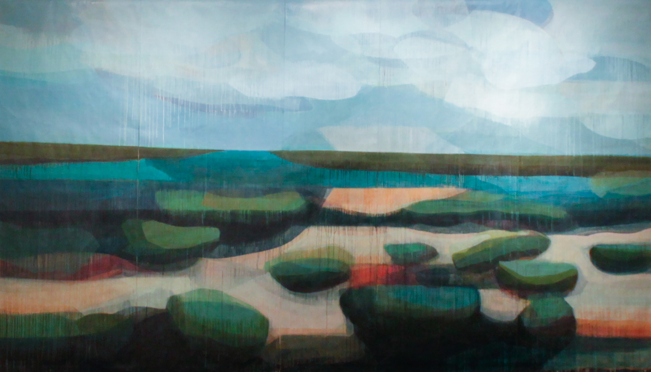 (color fields) water's edge, 8' x 12', water-based media on paper, 2015