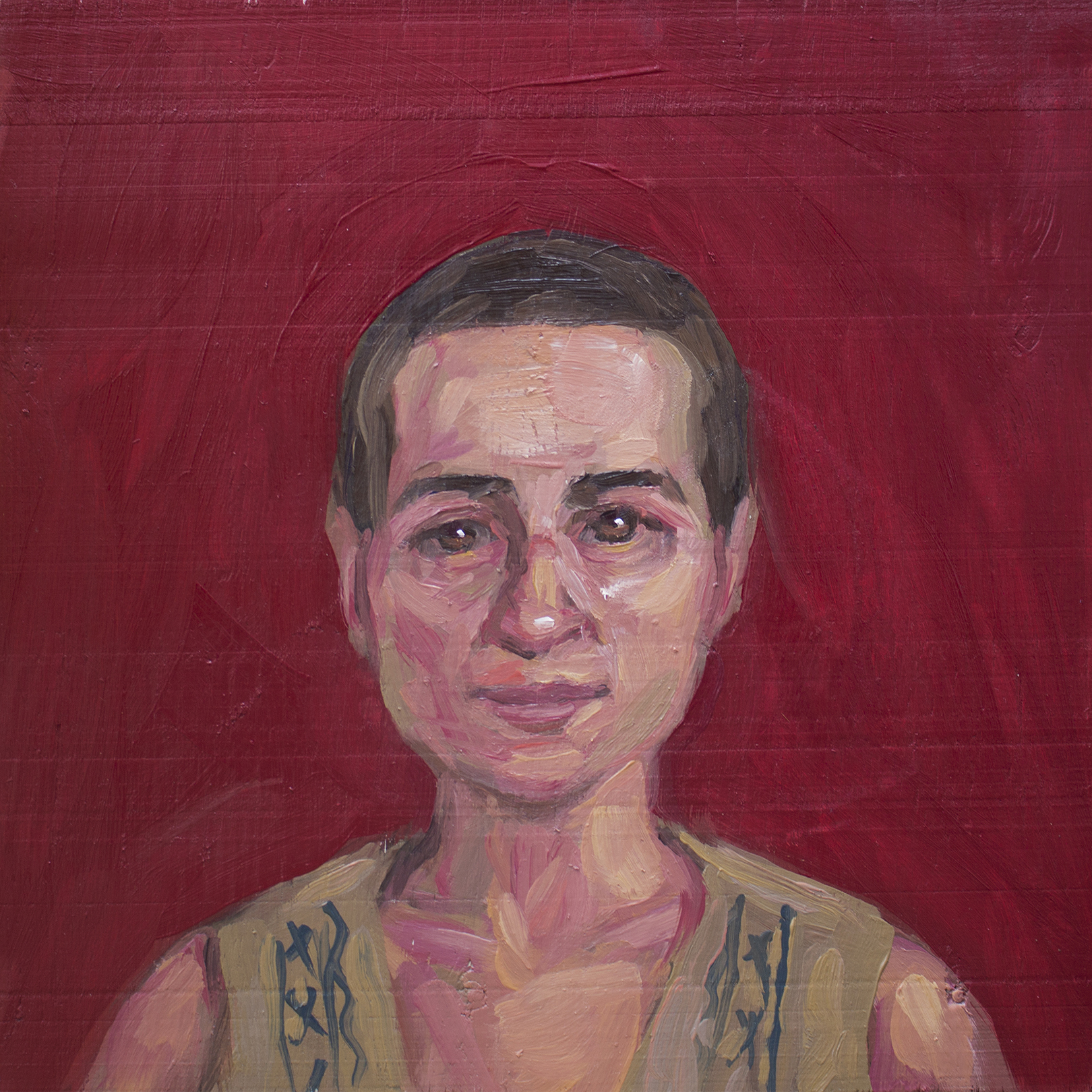 "troy wandzel, lulu henle, 10 3/4"" square, oil on panel, 2015"