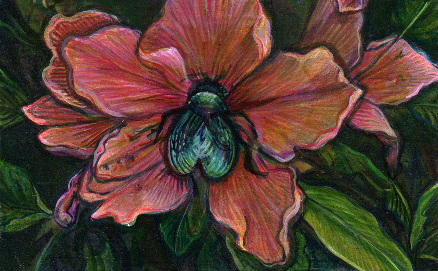 "katherine sandoz, (suwi1516) azalea, 3 5/8"" x 5 3/4"", water-based media on panel, 2015-2016"