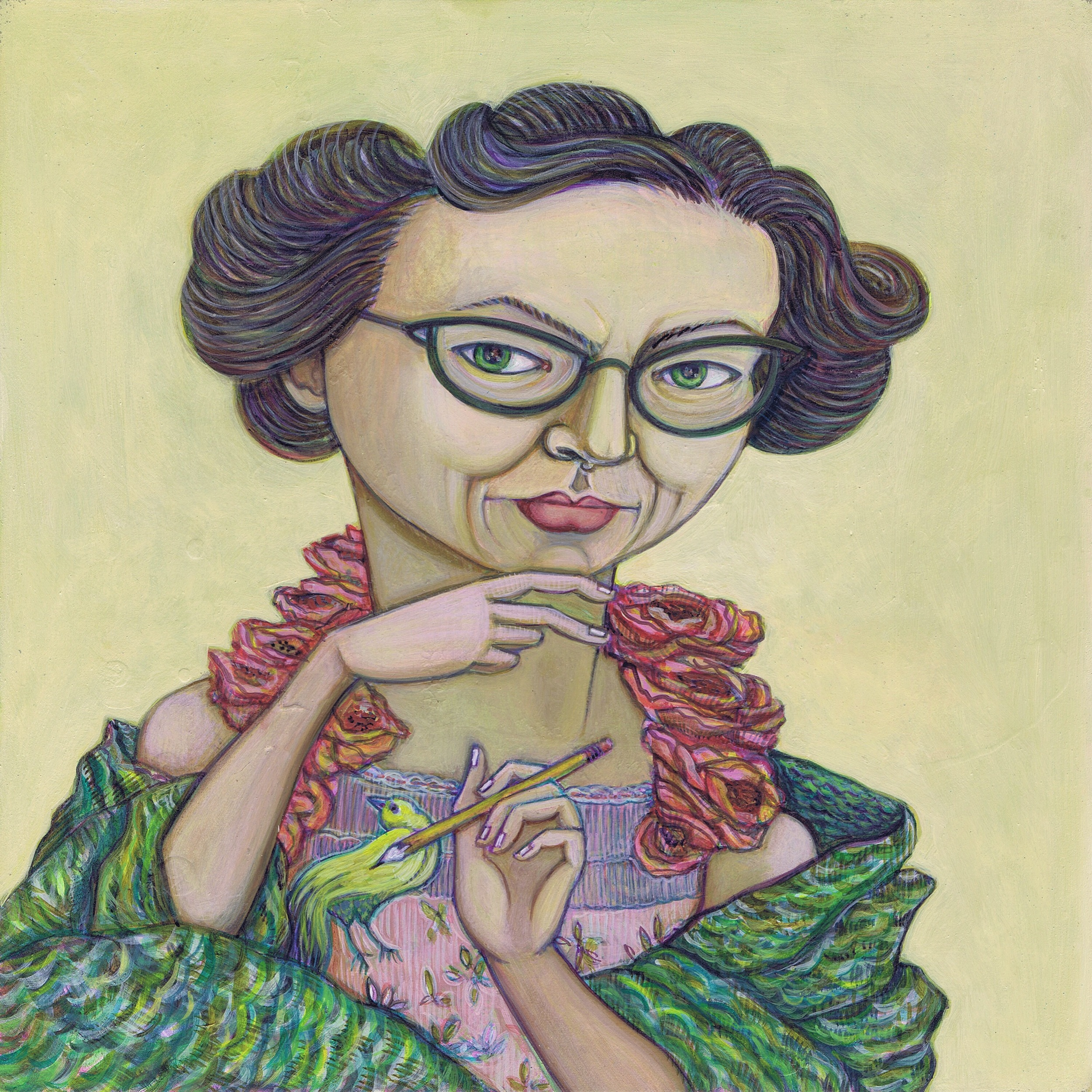 "flannery o'connor in gucci, 10""X 10"", water-based media on panel, 2016"