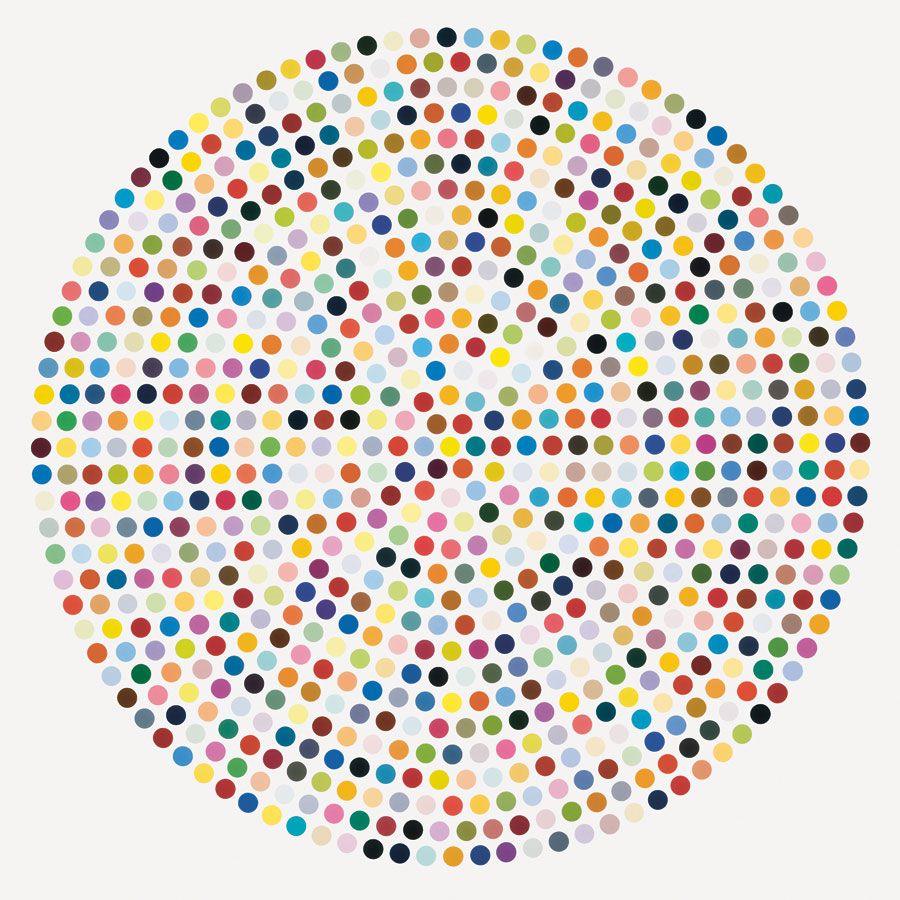 "Damien Hirst. ""Zirconyl Chloride,"" 2008. Household gloss on canvas. 84 inches diameter. Courtesy Gagosian Gallery. © Damien Hirst/ Science Ltd, 2012. Photography Prudence Cuming Associates."