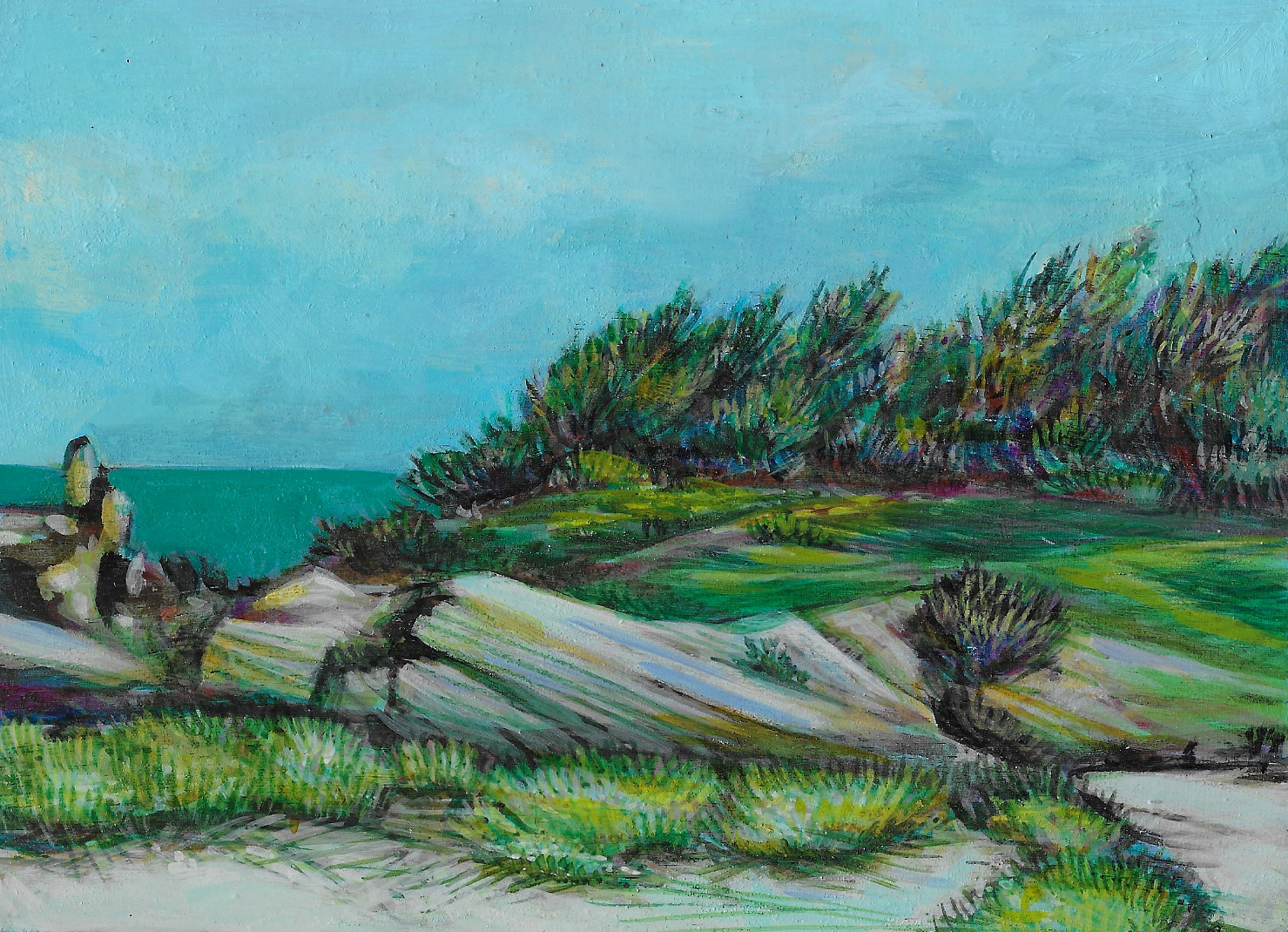 "(bermuda) east beach, 5"" x 7"", water-based media on panel, 2016"