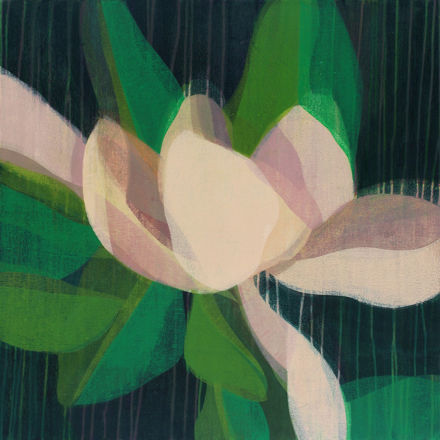 "(magnolia) pink lilac, 36"" x 36"", water-based media on canvas, 2018-2019"