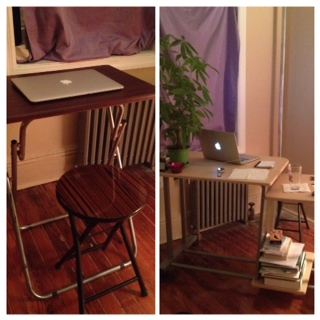 My desk transformation: the one on the right was a gift from my amazing roommates and the place where I shall be spending my morning time writing.