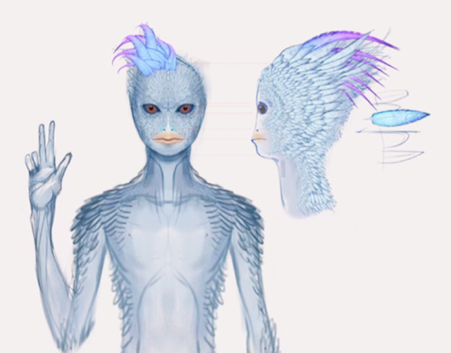 Blue-Avian Beings — Extra-dimensional race inhabiting 6th to 9th density. They are the inhabitants living inside the gigantic Sphere Ships of the Sphere Alliance. They are helping in the move for global disclosure on Earth. (image source,  android jones)