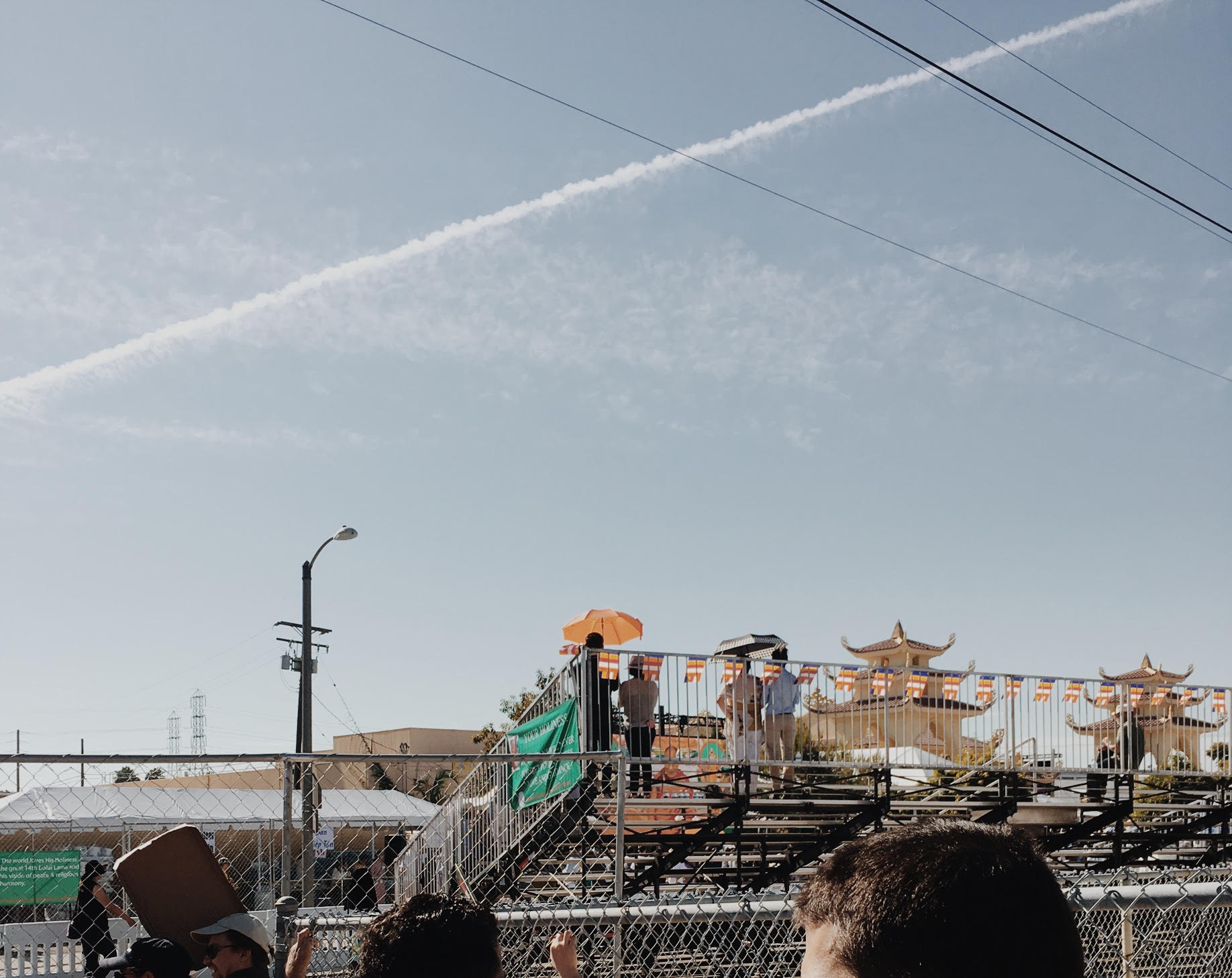 CHEMTRAIL OVER HIS HIGHNESS THE DALAI LAMA VISIT TO WESTMINSTER, CALIFORNIA 6/18/2016    —Westminster, California