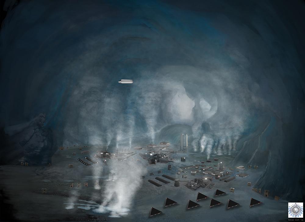 Underground Nazi/Reptilian base underneath Antarctica.  Image from SphereBeingAlliance.com