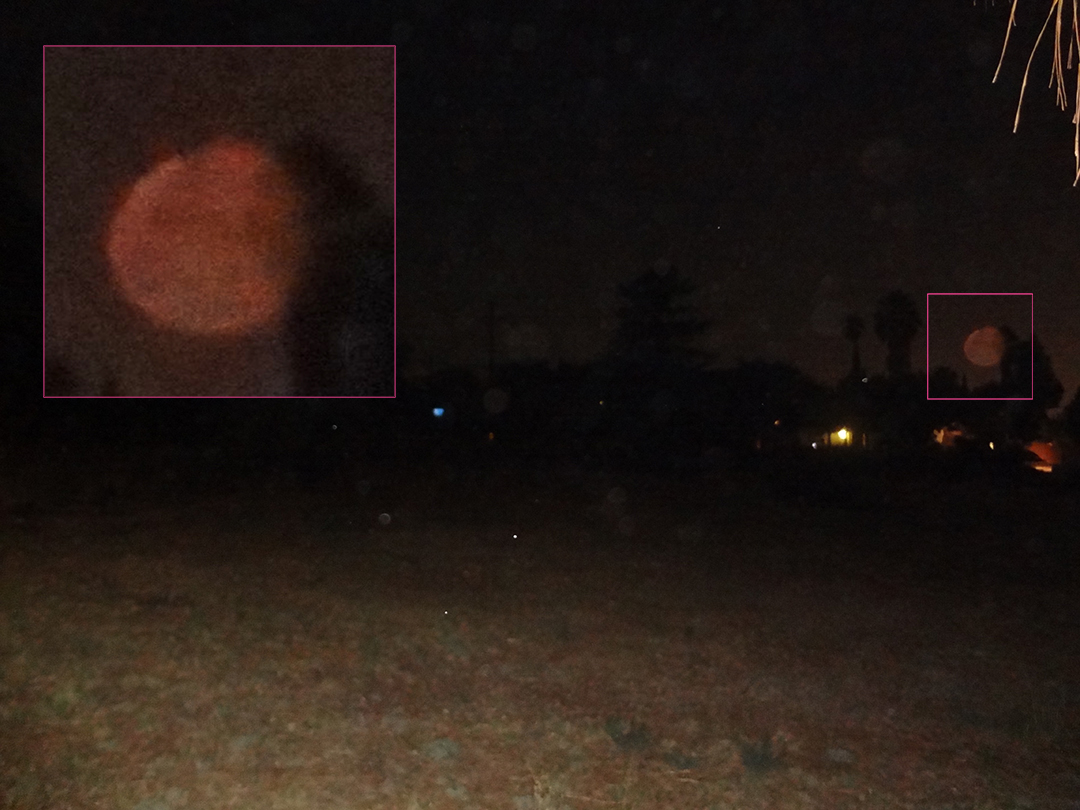 ORB CLOSE UP – FULL MOON – RED ANCIENT SOULS   9/5/2017 — Redlands, California