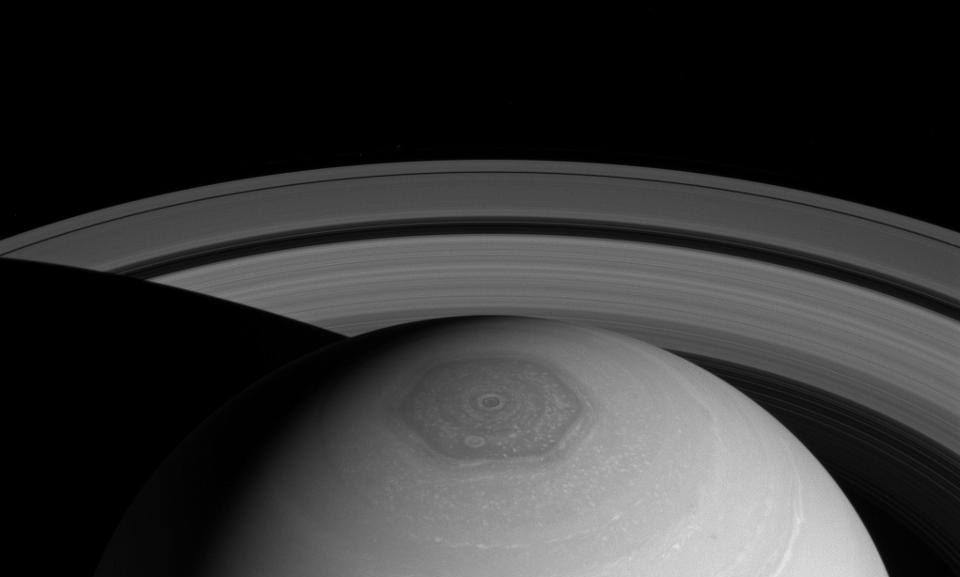 A hyperdimensional hexagon located above the north pole of Saturn