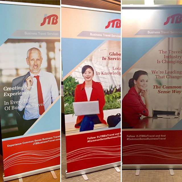 Brand consistency in action! just got these snapshots of the banners we created for our clients big training event in NY. Thanks Tayler @jtbbiztravel for sending these to us! Hope the training sessions are going well. #designiseverywhere #branding #teamwork #marketing #jtbbiztravel
