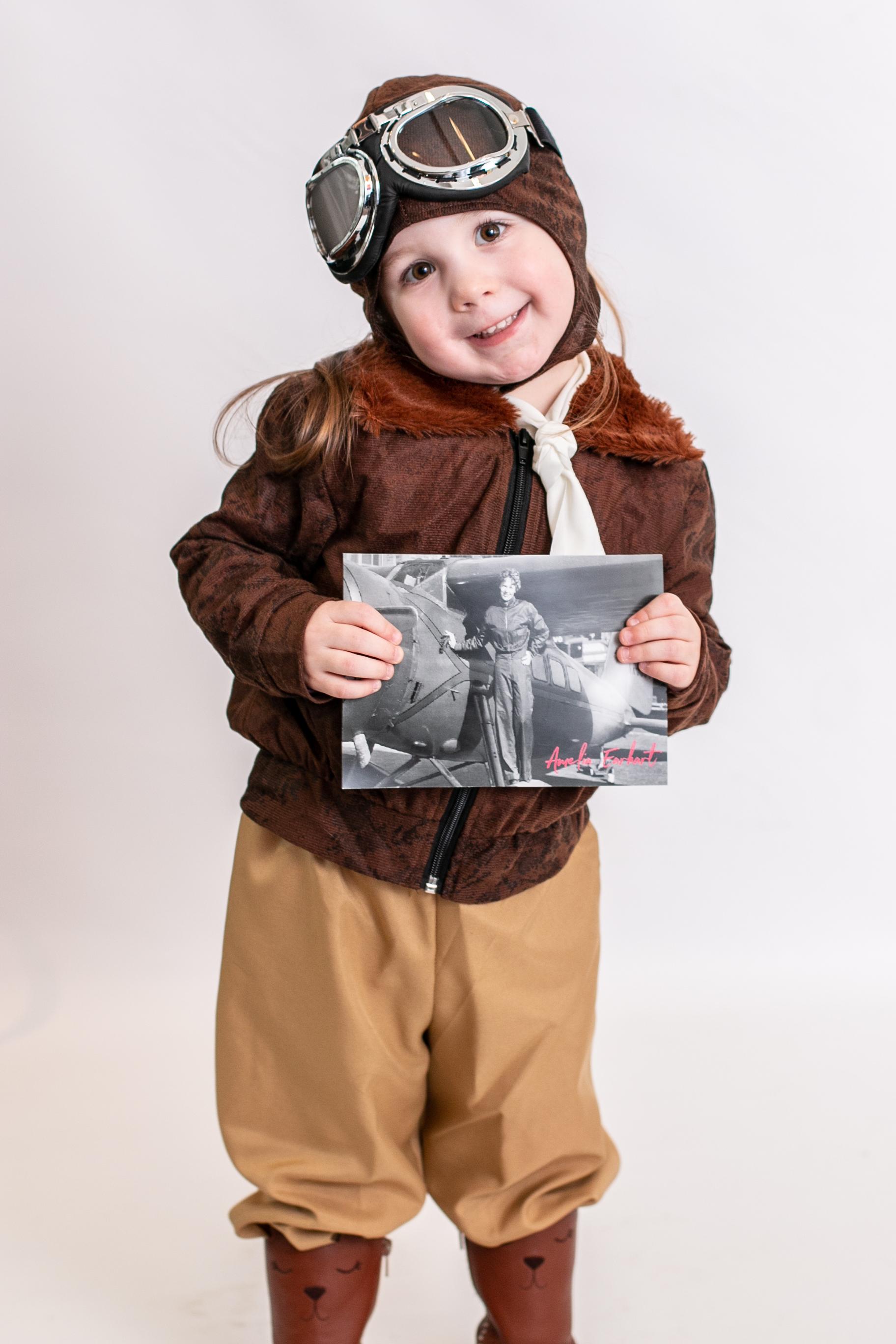 Girl dressed as Amelia Earhart for International Women's day.jpg