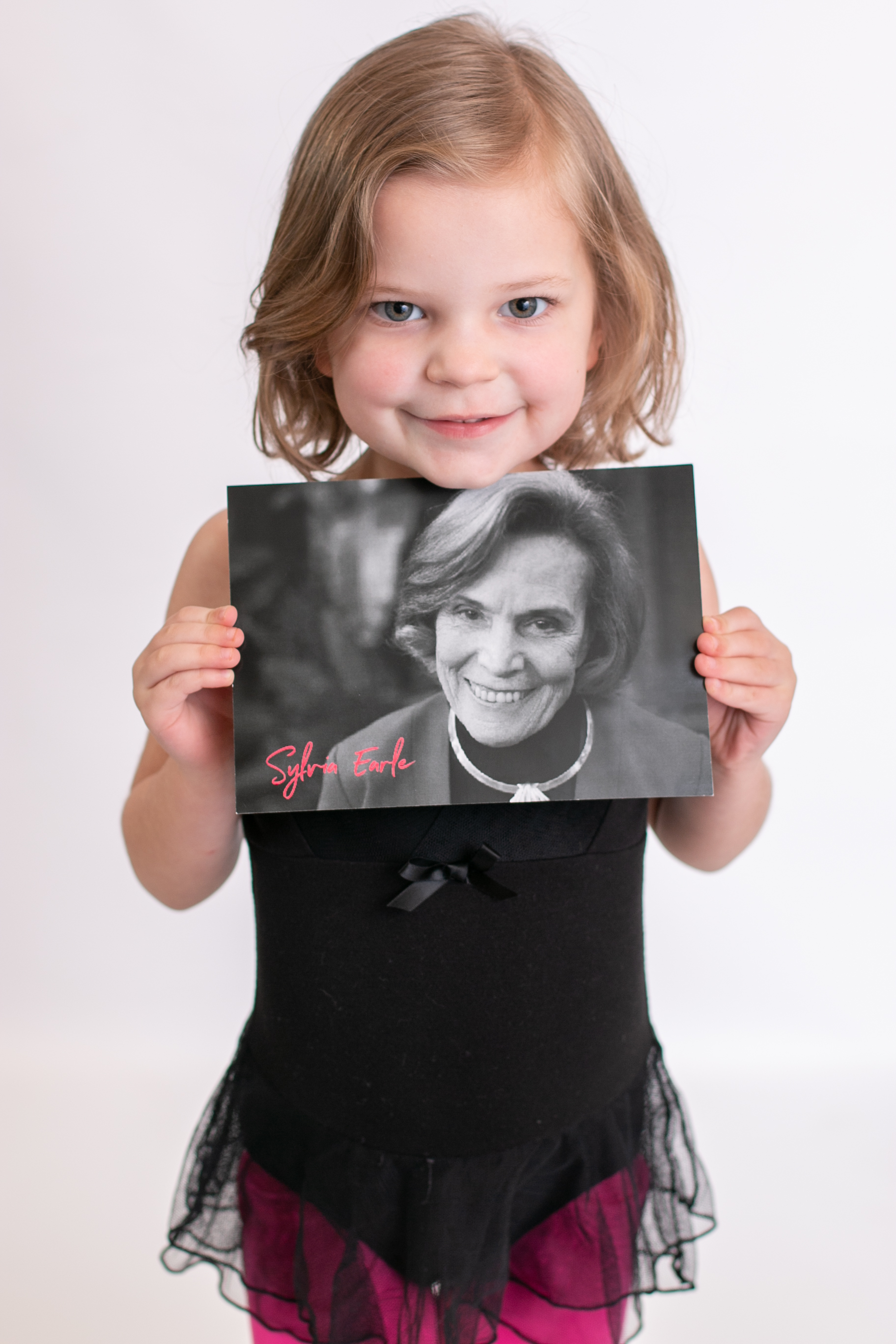 Little girl dresses as Sylvia Earle for International Womens Day