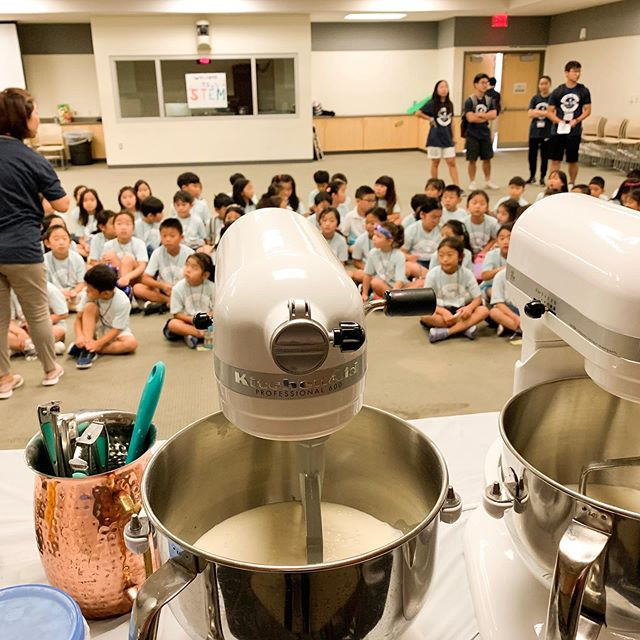 A fun summer day camp making some delicious ice cream science experiments!  #foodscience #icecream #summercamp #liquidnitrogenicecream #friday #