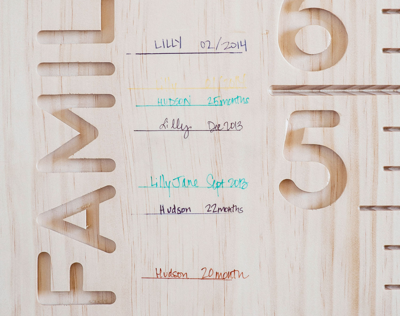 Writing Detail / Radiata Pine Board / Sant Joan Despi Font / Unfinished Prototype