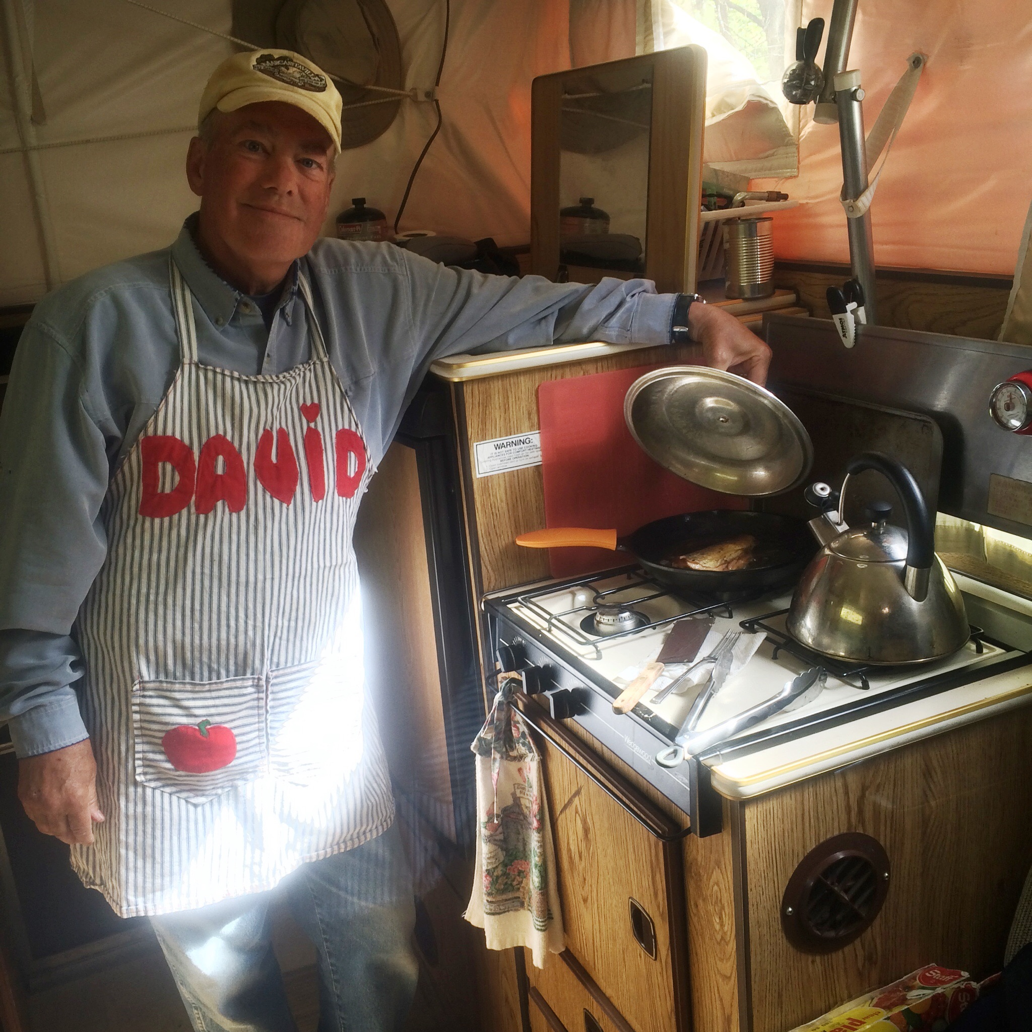 Chef Davy cooks trout in bacon fat for Sally