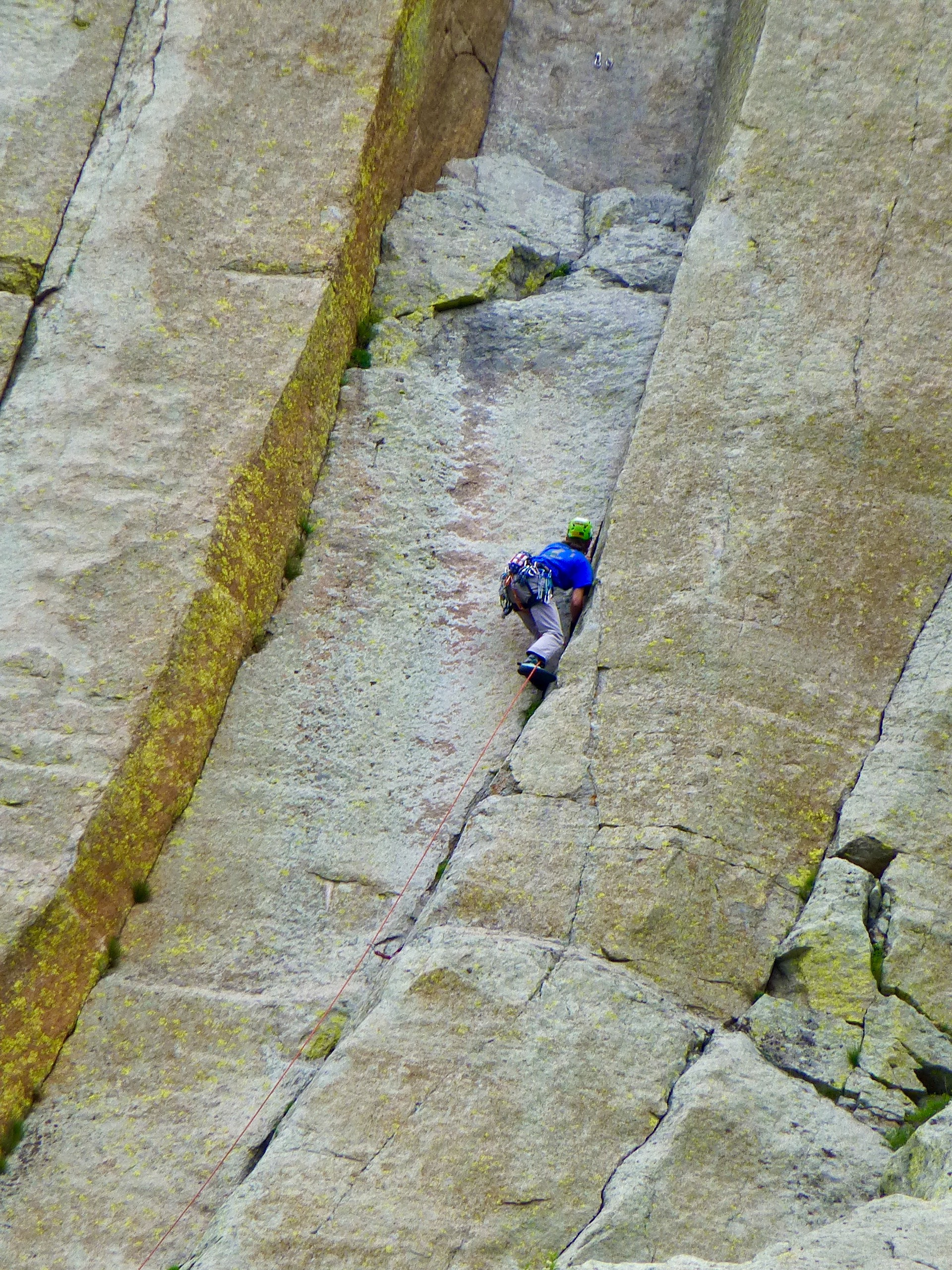 A climber two-thirds of the way up.  Most ascents take 6-10 hours for the round trip.  The record set in the 1980's for a free climb solo is 18 minutes!