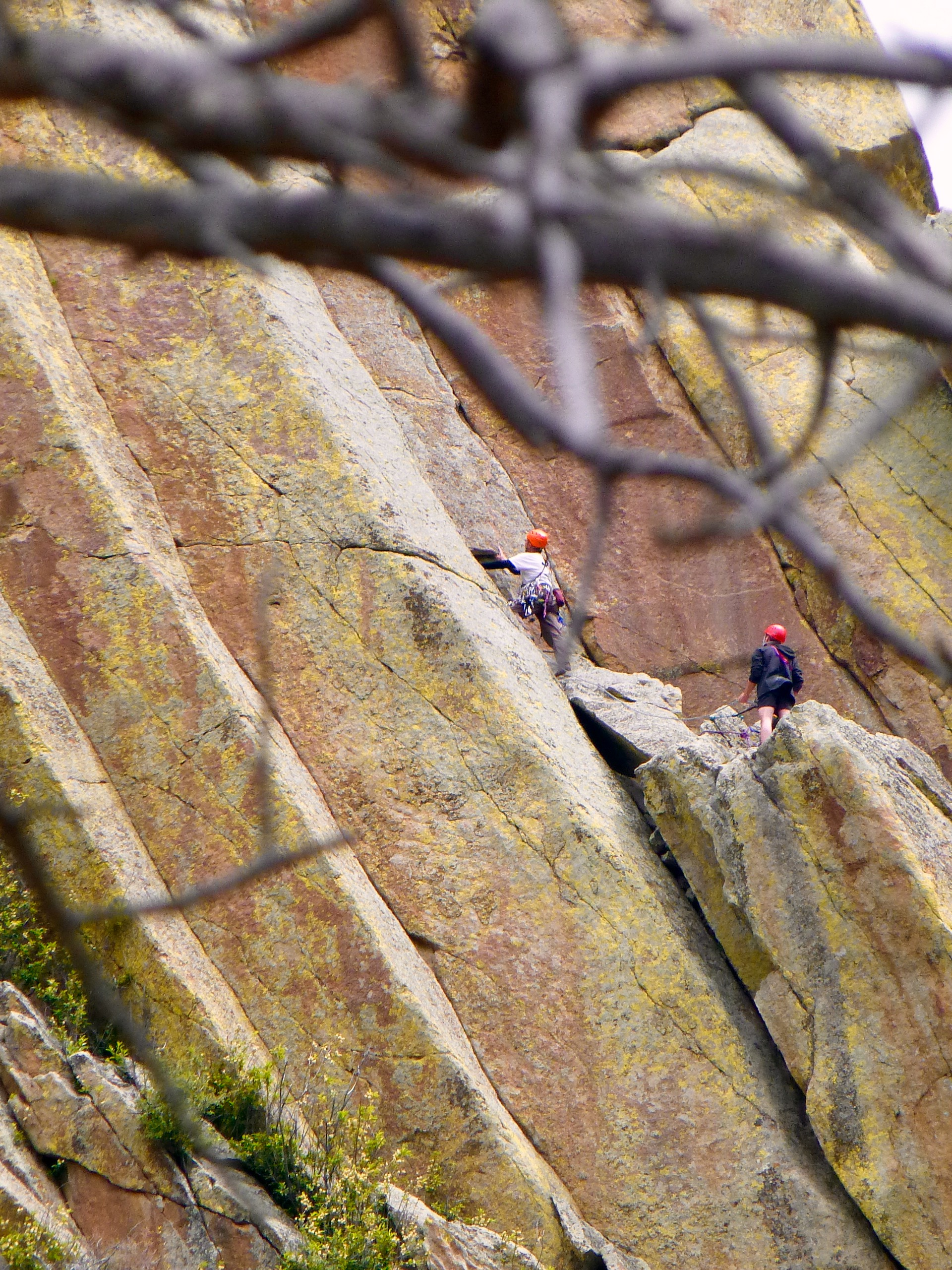 Late in the day, we watched the climbers with our binoculars, rappele back down.  The descent was much quicker!