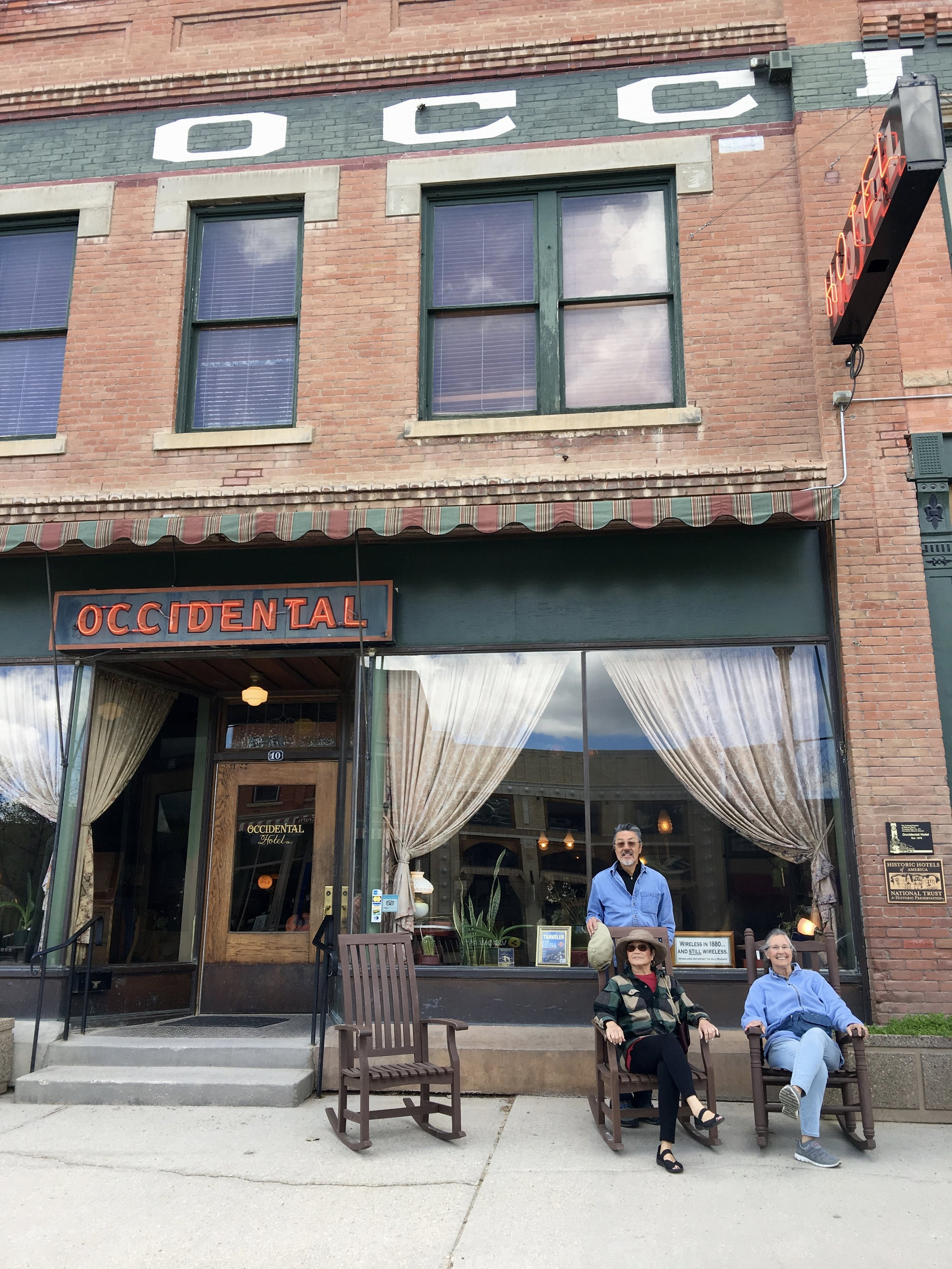 Relaxing at the Occidental Hotel, built 1880.