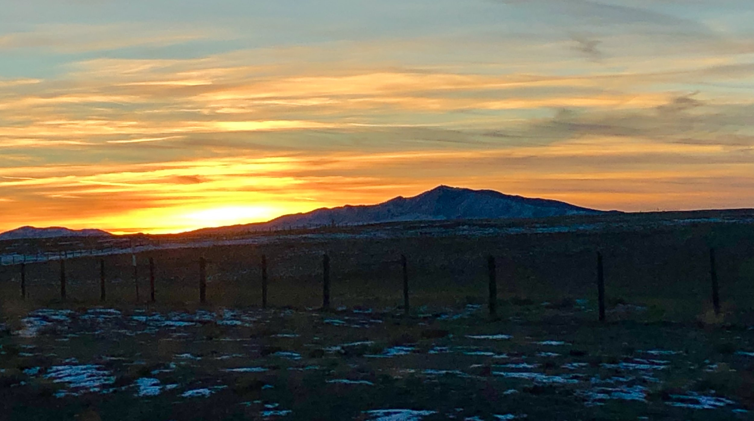 Sun setting as we drive in to the cabin