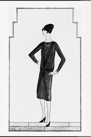 Chanel's 1926 illustration of her Little Black Dress for  Vogue.