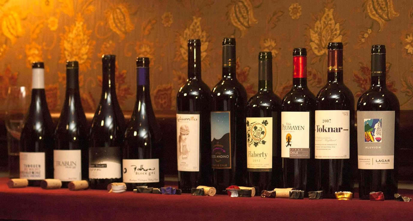 Some of the wines at the MOVI tasting in Santiago in early July, 2014