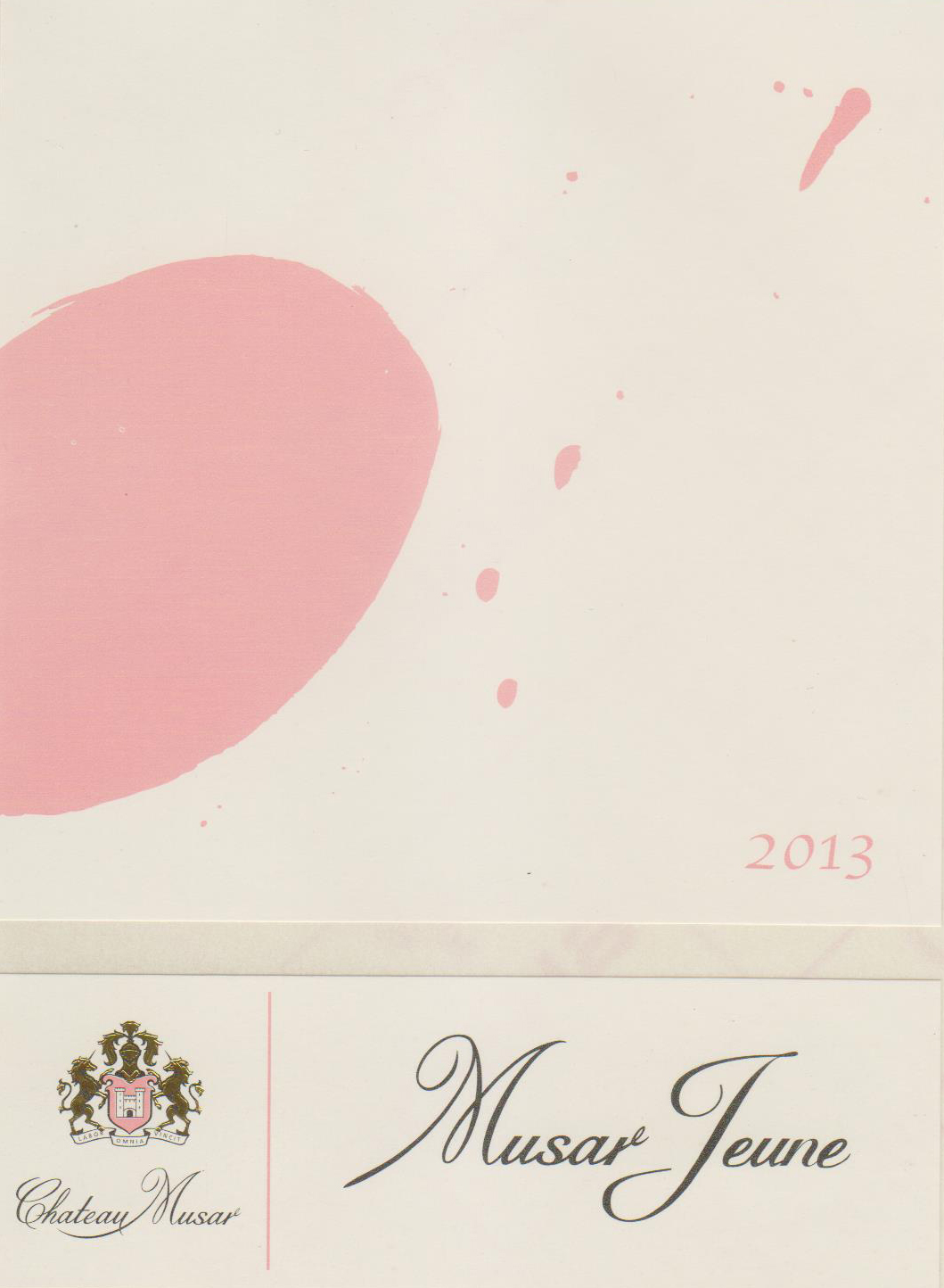 The contemporary label of Musar Jeune is consistent across all three bottlings