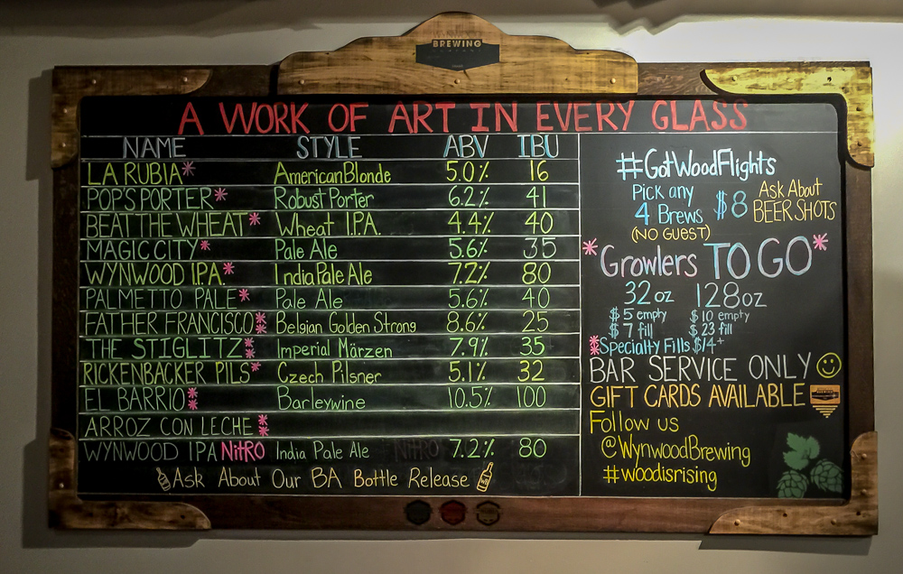 The beer menu at Wynwood Brewing on Christmas Eve