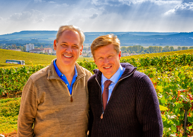 Roederer Chef-du-Caves Jean-Baptiste Lécaillon joins me in the vineyards