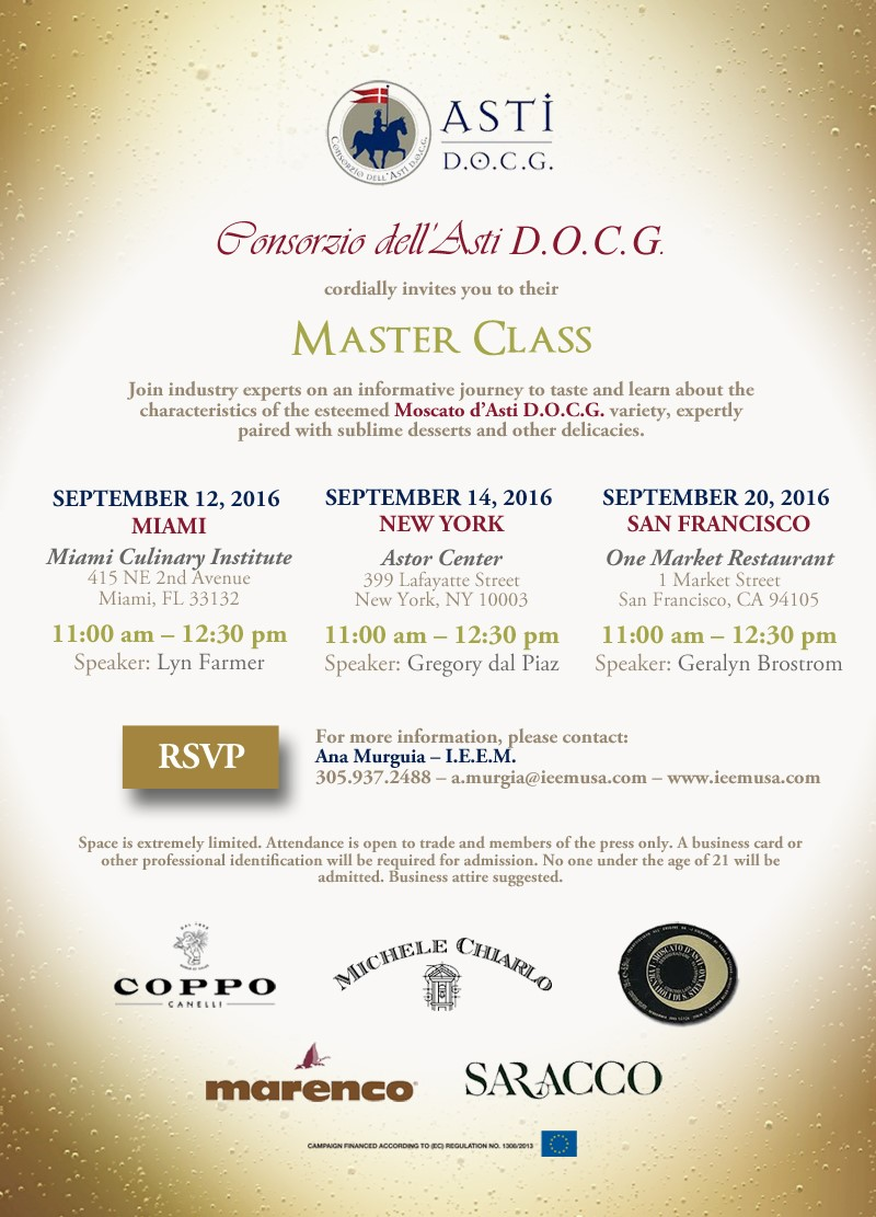 Be sure to RSVP to be admitted to the masterclass in Miami