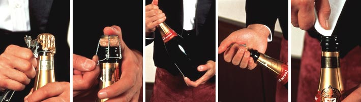 A few easy steps to remove the cork from a bottle of sparkling wine (in this case, Champagne). Photo: Comité Champagne