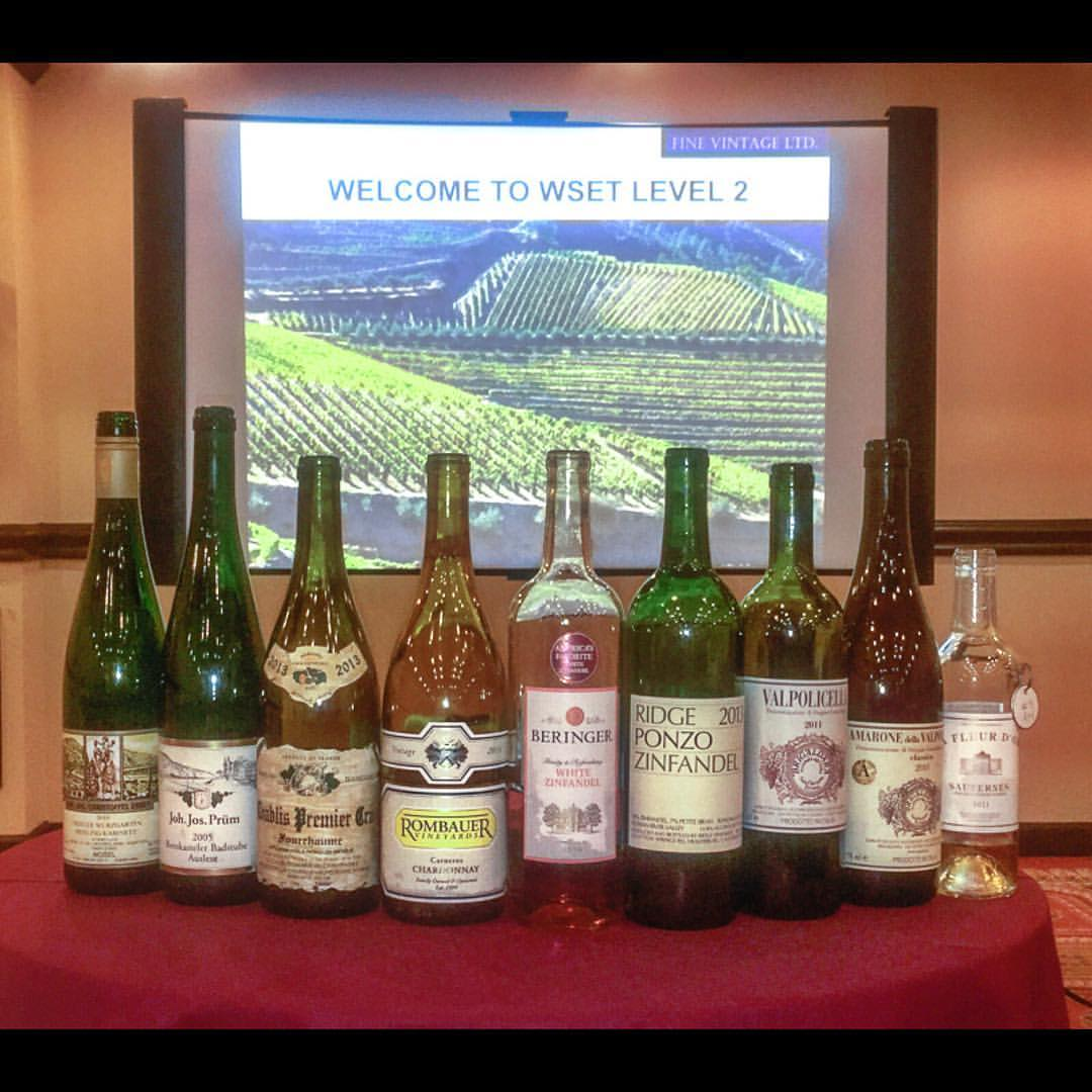 Some of the wines from a WSET Level 2 class session (Photo: Lyn Farmer)