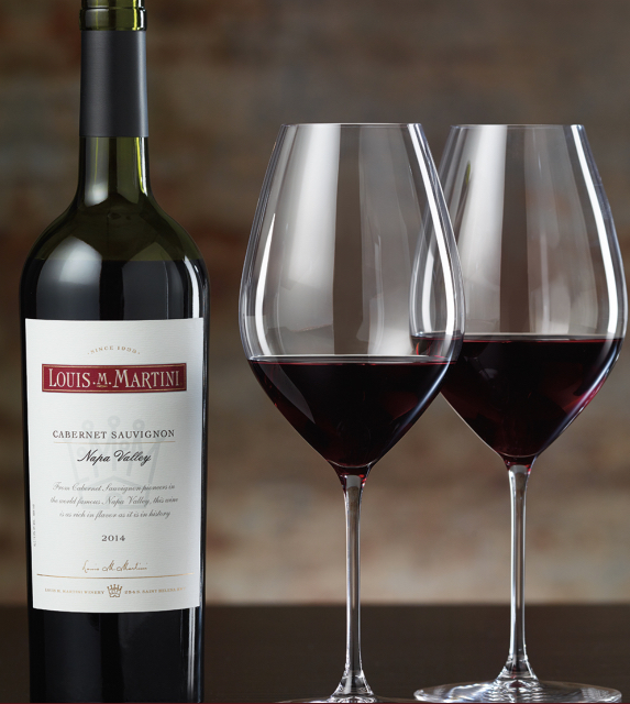 Louis Martini Napa Cab with the Riedel glass designed to showcase its qualities (Photo: Louis Martini Winery)