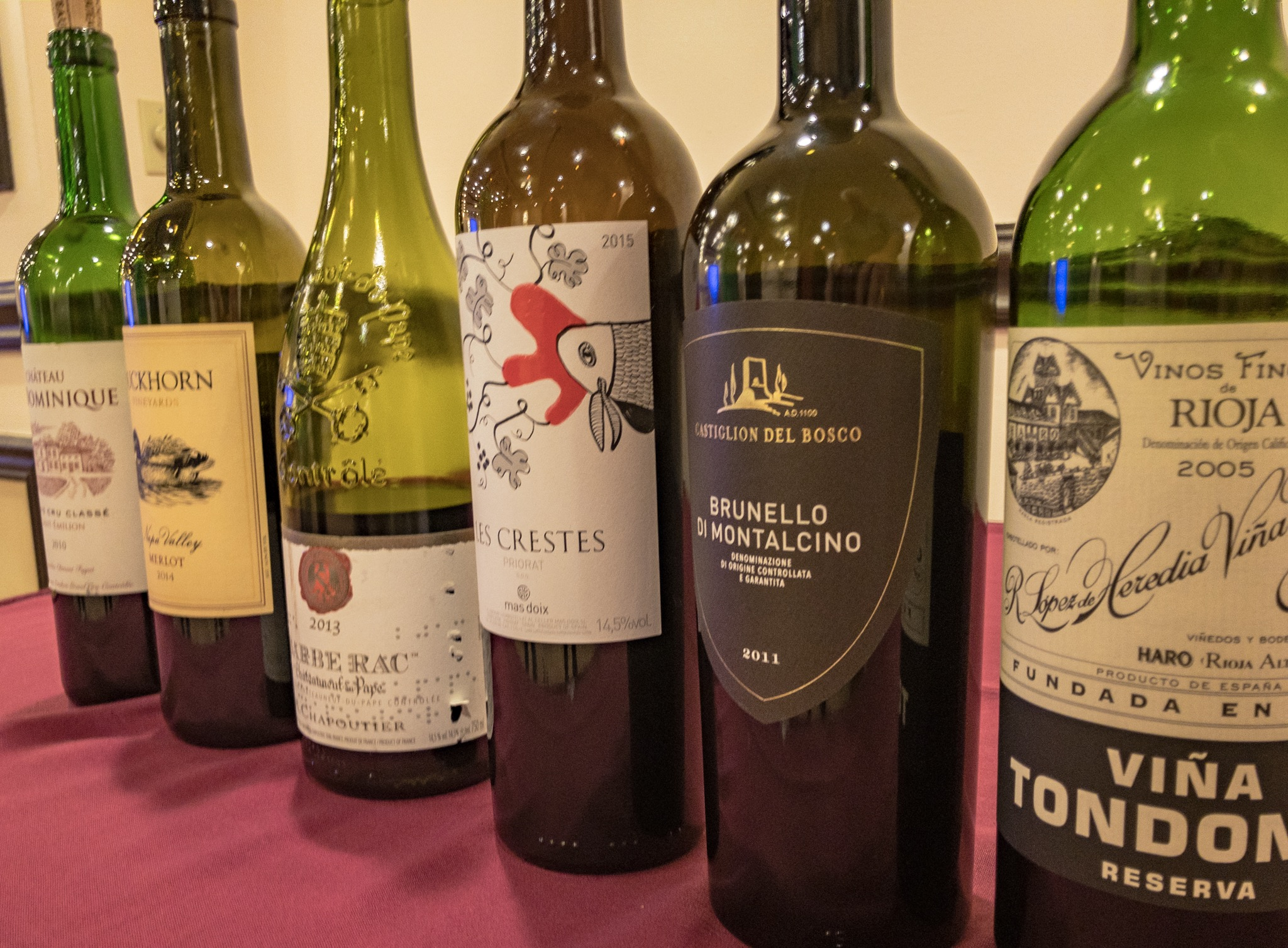 some of the wines tasted at last spring's sensory masterclass