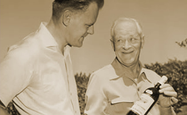 Louis P. Martini and and his father Louis M. Martini, probably in the early 1960s (Photo: Louis Martini Winery)